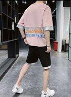 مجموعات 2 قطع مصمم رياضية مخطط الشارع الشهير الدعاوى ملابس الصيف الألواح عارضة رجل الرياضة فضفاض طباعة إلكتروني المراهقين