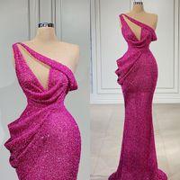 2021 Fushcia Evening Dresses One Shoulder Party Wear Lace Beaded Sleeveless Mermaid Prom Dress Custom Made Formal Vestidos De Fiesta