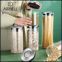 Botellas de almacenamiento JARS AIRBELL CAJA DE COCINA DE COCINA Organizador Recipiente Frigorífico de vidrio con tapa Cereal Dispenser Gabinete Rebotres de arroz
