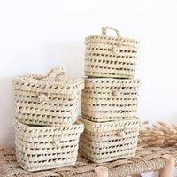 Asılı sepetler çocuklar sevimli hasır çanta rattan saklama kutusu açık piknik sepeti çanta retro çanta sahne seyahat bambu bolsas de mujer