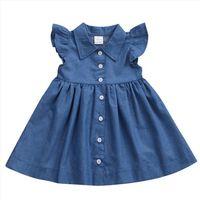 Kızlar Denim Sevimli Katı Desen Kız Elbise Uzun Kollu Toddler Giyim 1 6 yıl Parti Vestidos De Fiesta
