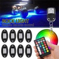 Bluetooth RGB LED مصباح محيط الصخور ضوء قبالة أضواء الطريق IP68 للماء السيارات الداخلية الديكور للسيارة interiorexternal