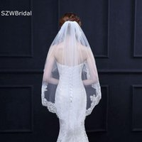 Bridal Veils Arrival Soft Tulle Wedding Ivory Lace Appliques Fingertip Accessories Headwear Hochzeit