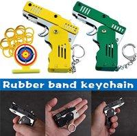 Fidget Toys Mini pliage peut contenir la chaîne clé de pistolet à bande de caoutchouc Six rafales fait toutes les armes à feu en métal tirant des cadeaux jouets Garçons Outils en plein air