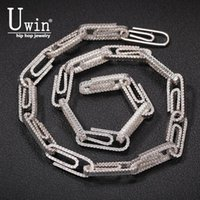 Uwin 10mm Paperclip Necklace Cubic Zirconia Chains Hiphop Necklace&Bracelet Luxury Copper Iced Out Jewelry