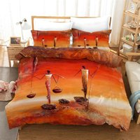 Ensembles de literie Style African Orange Femme ethnique Ethnique Imprimé Linge de linge Ensemble King Taille Soft Polyester Couverture Couvercle Qulit