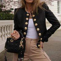 Women's Suits & Blazers Women Ladies Button Long Sleeve Blazer Jacket Coat Outwear Short Biker Casual Tops Open Stitch Slim