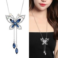 Pendant Necklaces Fashion Blue Long Chain Tassel Sweater Necklace For Women Jewelry Crystal Butterfly Femme Accessories 2021