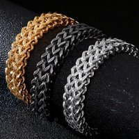 Thick Chain Gold Black Stainless Steel Bracelet Men With Lobster Clasp Trendy Mens Bracelets 2021 Friendship Jewelry Male Link,