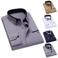 Men's Casual Shirts Quality Men Shirt Long Sleeve Twill Solid Striped Dress Business Office Slim Fit Man