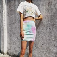 Skirts 2021 Summer Women's Fashion Gradient Tie Dye Print Package Hip Sexy Stretchy High Waisted Short Mini Pencil Bodycon Skirt