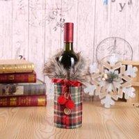 솜털 크리 에이 티브 와인 병 커버 패션 크리스마스 장식 RRD11037와 활 격자 무늬 린넨 병 옷을 입은 크리 에이 티브 새로운 와인 커버