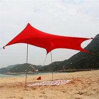 شاطئ الظل خيمة المحمولة مظلة الشمس المأوى مع رمل المرساة ظلة مظلة مضادة للأشعة فوق البنفسجية التخييم سقف الصيد ل 1-4 الناس
