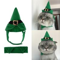 Dog Apparel Cats Party Dress Up Costume Hat Tie Set Christmas Halloween Caps Collar For Dogs Green Pet Clothing Accessories