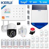 Kerui Tuya Kit WiFi GSM الرسائل القصيرة المنزلية الأمن الأمن نظام إنذار ستارة الحركة الاستشعار اللاسلكية صفارات الإنذار الشمسية كاميرا