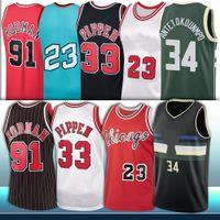 NCAA Antetokounmpo Chicago Bulls Jersey Milwaukee Bucks 8 Zach 33 Scottie 91 Dennis Pippen Lavine Rodman 34 Giannis Retro Stitched Jersey