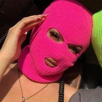 Полное лицо маска мужские шапки моды дизайнерские шляпы женские случайные вязание лыжи езда маска шансы шапки шлепок держать тепло