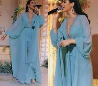 Aso Ebi Jumpsuits Prom Dresses Sexy sky blue Chiffon Beaded Deep V Neck Long Sleeves Evening Formal Party Gowns pant suit