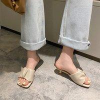 Manlegu Женщины тапочка 2020 Летний квадратный носок на высоком каблуке женская кожаные сандалии Mujer высокое качество флип флоп платье обувь скольжениями 29c5 #