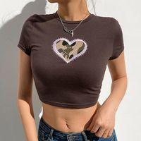 T-shirt da donna Gothic donna T-shirt 2021 Estate ricamo cuore cropped top mujer moda alt vestiti estetici mingliusili sexy tee shir