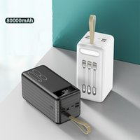 2021 ins 80000mAh Power Bank External Battery Pack Built in 4 Cables Portable Charger LED Display Four USB Powerbank Poverbank with flashlight YM322KCX