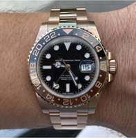 Rose Gold GMT2 Liste V3 Version V3 Batman Mens Montre Mouvement automatique Mouvement Céramique Feuille de céramique Verre Saphire Verre Bracelet en acier Bracelet