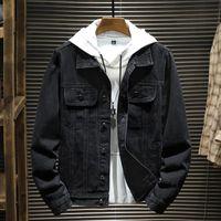 Vestes pour hommes Shan Bao 2021 Automne Brand Style Classic Black Denim Veste Trend Jeune Mode Casual Plus Taille Slim Slim