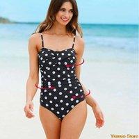 Women's Swimwear One Piece Striped Swimsuit 2021 Plus Size Women Solid Vintage Retro Beachwear Bathing Suits Monokini Bodysuit 4XL