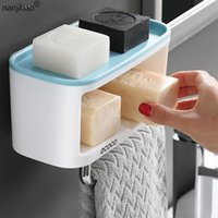 Platos de jabón para soporte de doble capa soportes de papel higiénico Punch libre plástico caja de pañuelos cocina baño portátil
