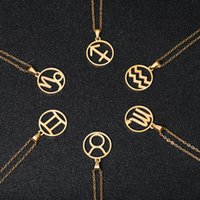 Fashion Stainless Steel Star Zodiac Sign Necklaces for Gold Silver Color 12 Constellation Pendant&Chain Women Men Jewelry gift
