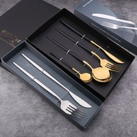Tableware Knife Fork Spoon Gift Box 410 Stainless Steel Silver Titanium Mirror-polished Portuguese Cutlery Sets Four-piece Set