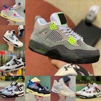 2021 Высокий 4 4S Баскетбольные Обувь Мужчины Женщины Гриб Новый Крем Парус У белого Цемент Разводной Суд Фиолетовый Союз La Guava Ice Rasta Bordeaux Спортивная обувь C19