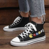 Skate shoes 2021 Trendy White and Black Anime Canvas Sneakers Male Platform Men High Top Vulcanised Shoes Prints Teen 0918