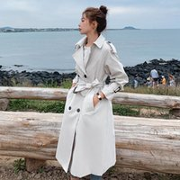Women's Trench Coats Fashion Double-Breasted Women Coat Long Belted Slim Lady Duster Cloak Female Outerwear Spring Autumn Clothes