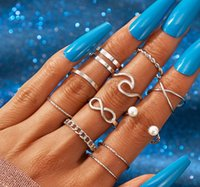 Minimalist thin Open Gold Band Rings Classic Pearl Wave Cross Style Finger Ring Jewelry Gift For Women wjl4630