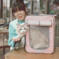 Pet Cat Rucksack Tasche aus Träger atmungsaktiver Transportreise Portable Packung Welpen Kätzchenkäfig Produktträger, Krippenhäuser