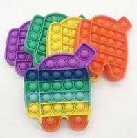 Флуоресцентный светящийся толчок Pop Fivet Bubble игрушки мультфильм робот сенсорные пузырьки головоломки радуги цветные пальцы весело сжать настольные вентиляционные шары G39A8JI