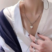 Chains Kamilia 925 Silver Vintage Handmade Love Heart Shape Necklace For Women Thai Color Thick Chain Clavicle
