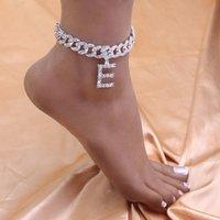Anhänger Kristall Hip Hop 26 Buchstaben anklets Ganzes für Frauen Männer Bling Fuß Kubanische Link Anklet Armband Chunky Eyed Out Schmuck