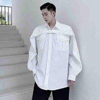 T-shirt à manches longues de la conception fonctionnelle Mode automne pour hommes lâche bandage japonais bandage bandes bandes de poche vêtements de travail occasionnels