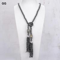 Природные 45 '' 8 мм Хематитовое ожерелье Пальто цепного свитера Abalone Shell Candant для женских цепей