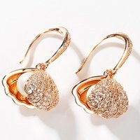 jewelry S925 sterling silver needle earrings shell shape pearl charm earrings for women hot fashion