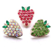 Charm Bracelets 10pcs lot 18mm Snap Jewelry Fruit Strawberry Rhinestone Button For Necklaces DIY