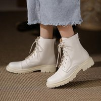 Boots Back Zipper Motorcycle Women Ankle Genuine Leather Round Toe Shoes Woman Winter Est Pumps Working Casual Short