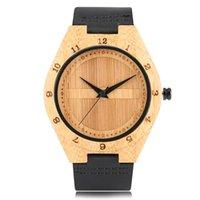 Relógio de pulso de luxo de madeira de luxo relógio de bambu para homens casos de madeira mulheres relógio de couro durável cinta de couro de quartzo relógio de pulso 2021 Relosjes de hombre