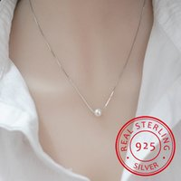 925 Sterling Silver By Jewelry Simple Fashion 10mm Real Pearl Box Collana Catena Kolye Collares Bijoux Femme S-N55