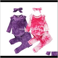Sets Clothing Baby, Kids & Maternity Fall Autumn Baby Girls Purple Pink Tie-Dye 3Pcs Set Ruffle Long Sleeve Rompers+Ruffle Decorate Pants+Bo