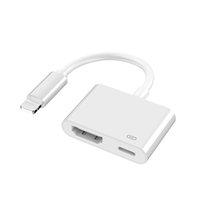 Yıldırım HDMI uyumlu 2 portlar Splitter Kablo Dönüştürücü 1080 P Dijital AV Adaptörü Telefon Aksesuarları iPhone iPad için TV