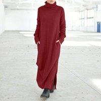 Beiläufige Kleider Solid Maxi Frauen Herbst Sommerkleid Vonda 2021 Vintage Fleeding Dress Langarm Vestidos Weibliche Rollkragengewebe Robe