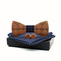 Bow Lazs Hecho a mano de madera para hombres de madera para hombre Bownerchief Gemelos de pañuelos Conjunto de mujeres Mariposa Cravat Gravata Tie